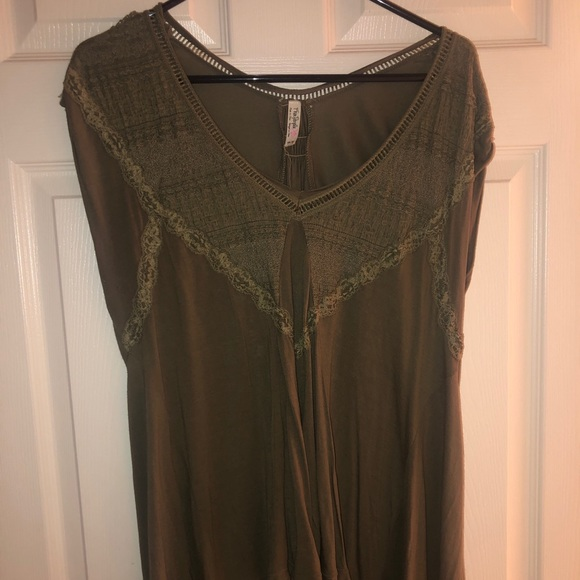 Free People Tops - Free People Olive green Tunic shirt